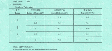 电子万能试验机CNAS校准证书结果页展示2