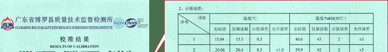 温湿度计CNAS校准证书结果页1